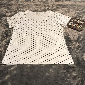 Coldwater Creek White With Black Polka Dots Top